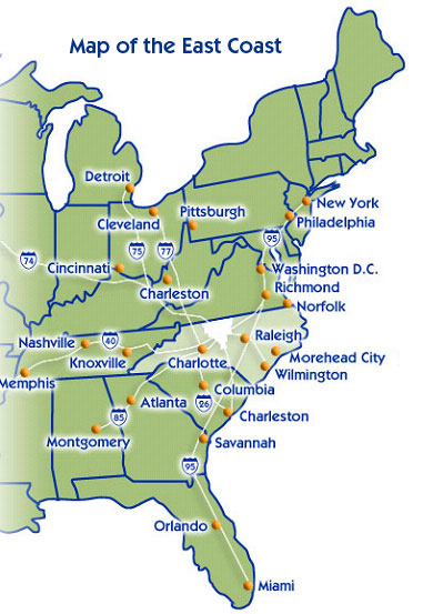 map of east coast usa windus map of new york